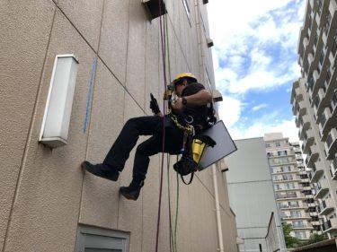 ロープでの外壁調査 東大阪市