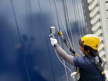 大阪市でロープ作業吹付塗装