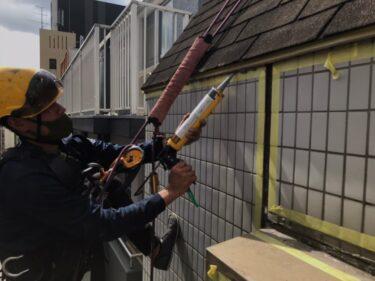 カラーベスト屋根からのロープ作業