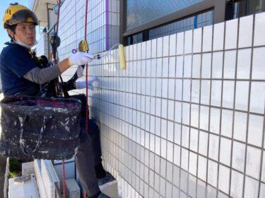 外壁タイル塗装をロープ作業で
